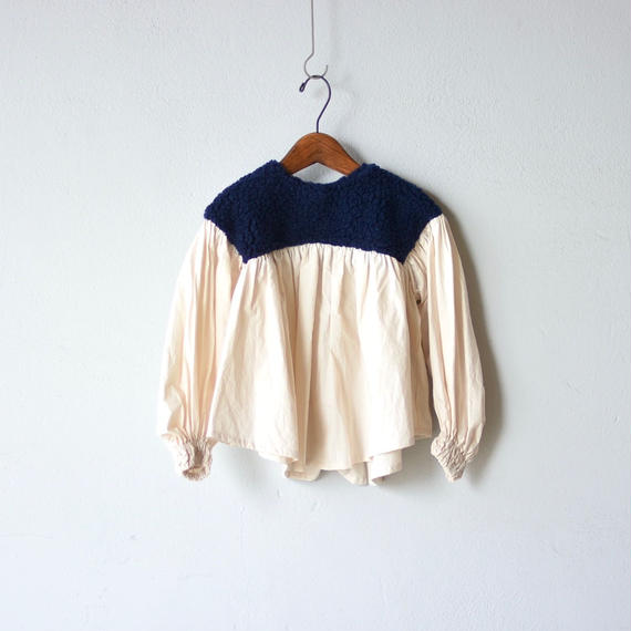 【 folk made 2018AW】No.16 boa gather blouse / ネイビーboa×生成 / L(125-140cm)