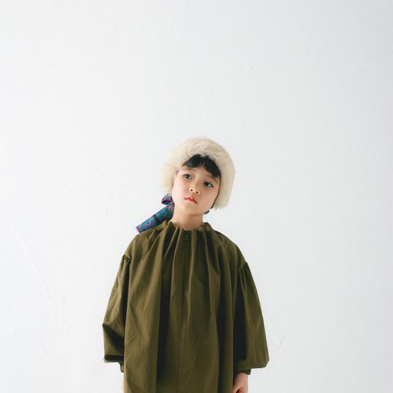 【 nunu forme 2018AW 】10-535-001 スタンドカラーコードブラウス / Khaki