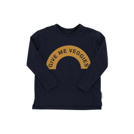 【 tiny cottons 2018AW 】 AW18-056 give me veggies graphic tee / navy/mustard