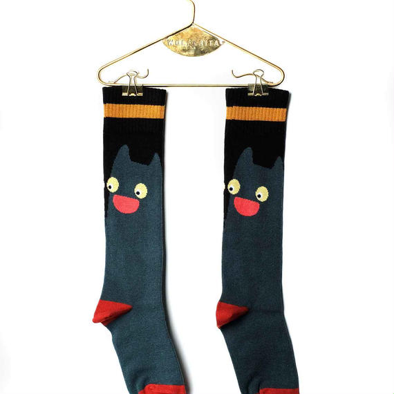 【 WOLF&RITA BABY 2018AW 】 BABY LONG SOCKS / GREEN CAT
