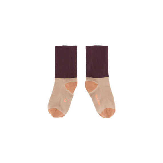 【 tiny cottons 2018AW 】 AW18-253 rib medium socks / dark nude/plum
