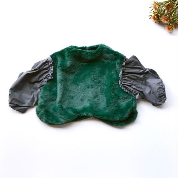【 franky grow 2018AW 】CS-298 BOA BODY WAVE CUT SLEEVES TP / GREEN -GY / size LL(9-11歳)