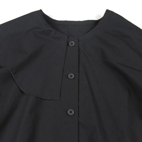 【 UNIONINI 2018AW 】 BL-008 wave collar blouse  / black / 10-12Y