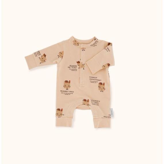 【 tiny cottons 2018AW 】 AW18-077 friendly bags fleece one-piece / nude/dark nude/brick / 6-12m