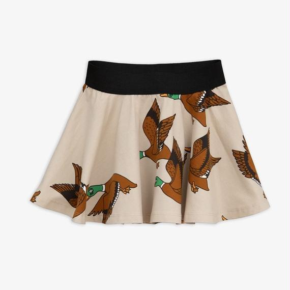 【 mini rodini 2018AW 】30133  Ducks aop skirt / beige