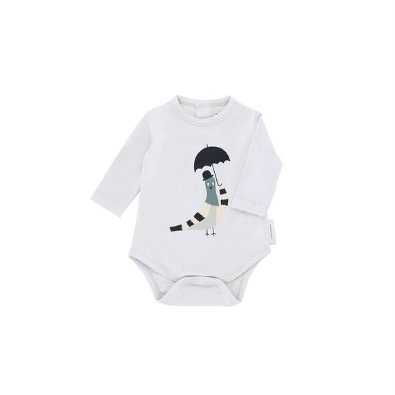 【 tiny cottons 2018AW 】 AW18-063 pigeon graphic ls body / light grey/navy/beige / 6-12m