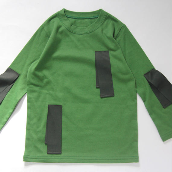 【 UNIONINI 2018AW 】 CS-038 untied ribbon long sleeve Tee / green