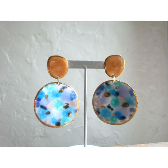 【2stones earrings orange,blue 】[PEKI!RARIGON]