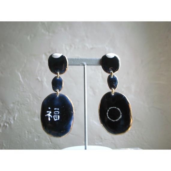 【3stones earrings 福】[PEKI!RARIGON]