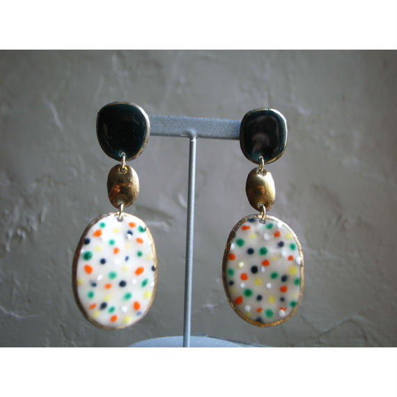 【3stones earrings green 】[PEKI!RARIGON]