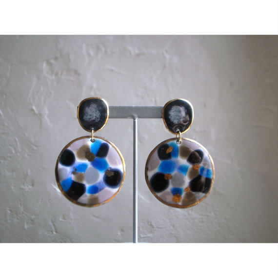 【2stones earrings blue ,black  】[PEKI!RARIGON]