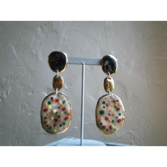 【3stones earrings black, gold, brown 】[PEKI!RARIGON]