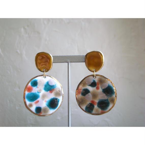 【2stones earrings yellow 】[PEKI!RARIGON]