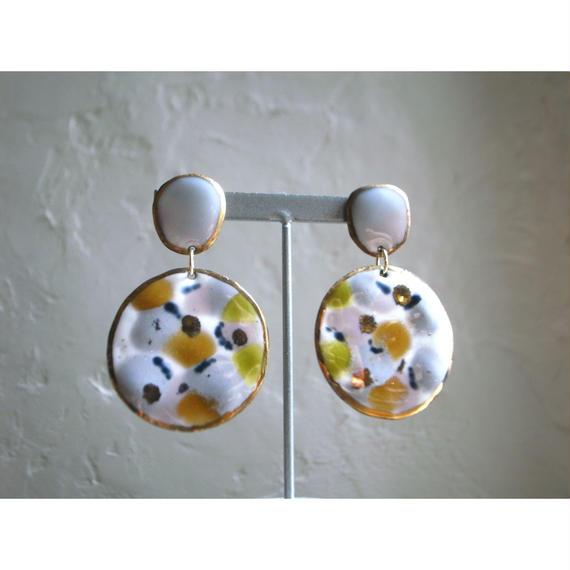 【2stones earrings gray,white,yellow,green 】[PEKI!RARIGON]