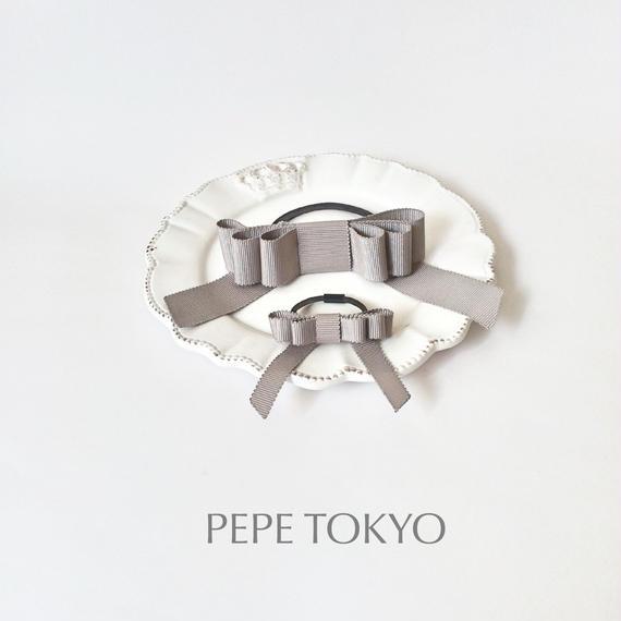 【親子お揃いセット】日本製リボンのグレーヘアゴム