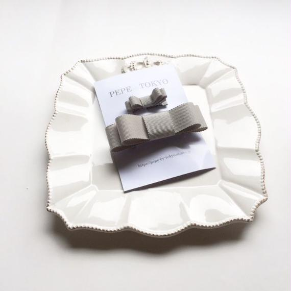【親子お揃いセット】日本製リボン のグレー