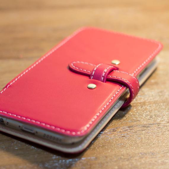 iPhone6 Plus 手帳型レザーケース ピンクxヌメ