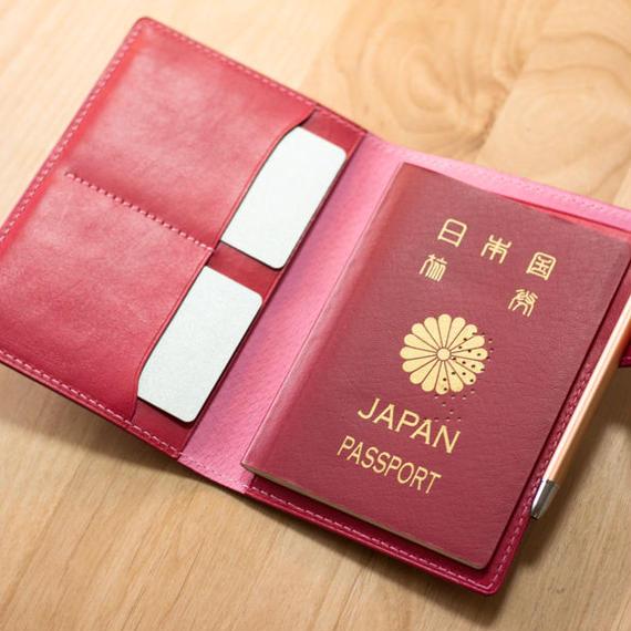 革のパスポートケース カラーヌメ/ピンク