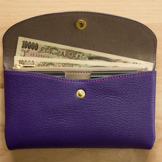 やわらかなレザーフラップ長財布(シェーブル・バイオレット)