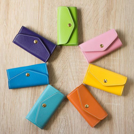 【セミオーダー可】上質かわいい革のキーケース カラフル7色