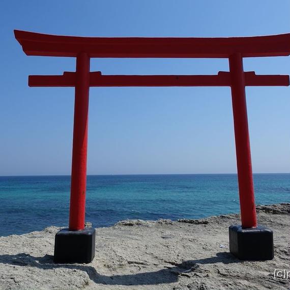 下田市白浜海岸に建つ白浜神社の海浜鳥居 [商用利用OK]