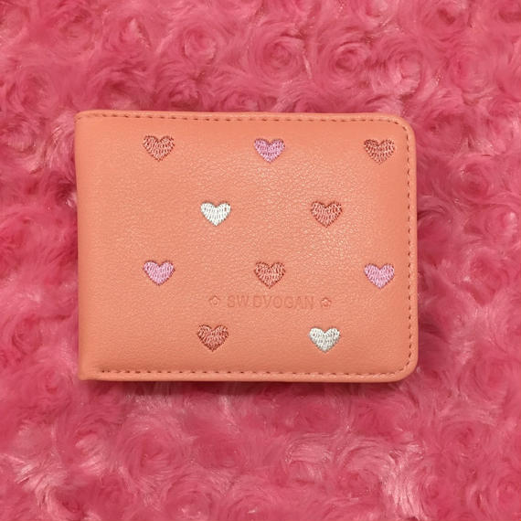 オレンジピンクハート財布