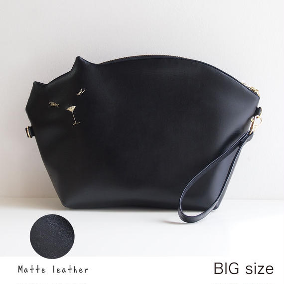 ☆Bigサイズ☆猫のクラッチポシェットmat-black