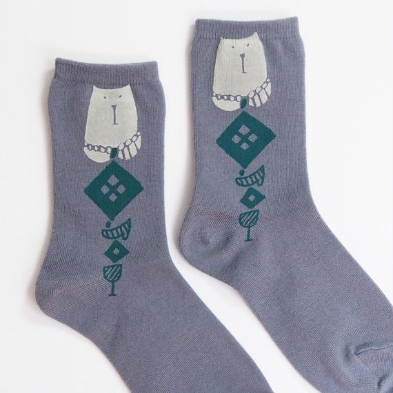 プリント綿靴下002号「猫」gray(受注生産)【送料無料】