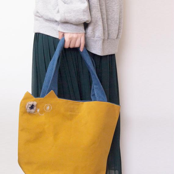 カジュアルな装いに☆帆布の猫トートバッグ からし色(受注製作)