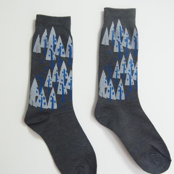 綿プリント靴下001号メンズ「木」gray(受注生産)【送料無料】