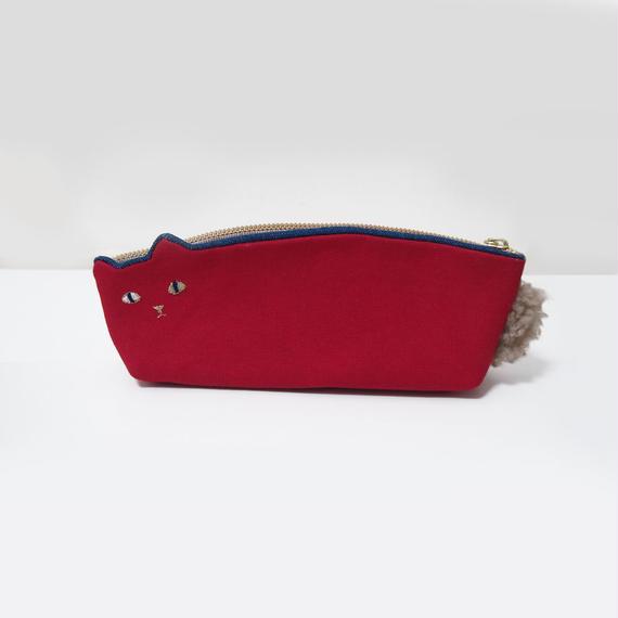 倉敷帆布のねこペンケース赤【受注生産】