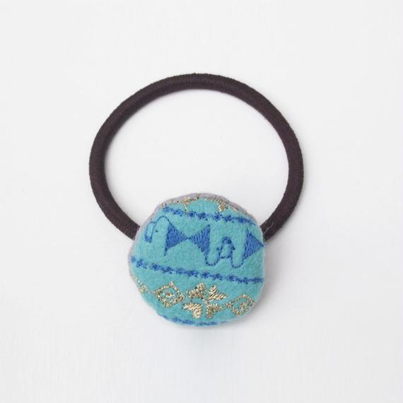 刺繍模様の小さなフェルトまるヘアゴム002号(受注生産)【送料無料】