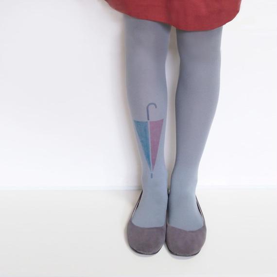 大きなワンポイントタイツ「傘と雫」gray(受注生産)【送料無料】