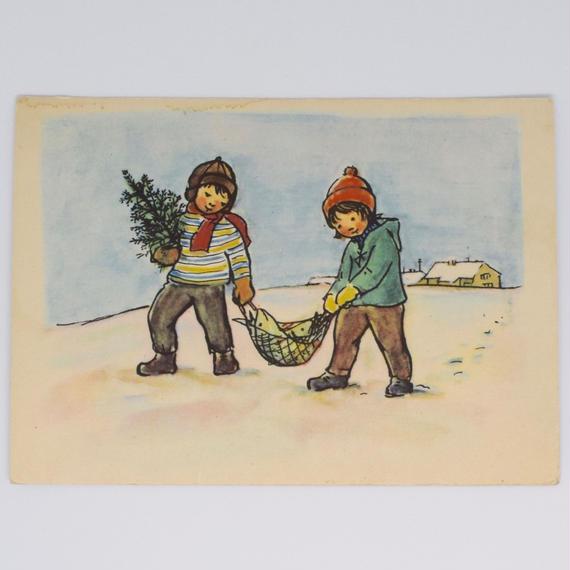 チェコ ポストカード ツリーと鯉を運ぶ子ども