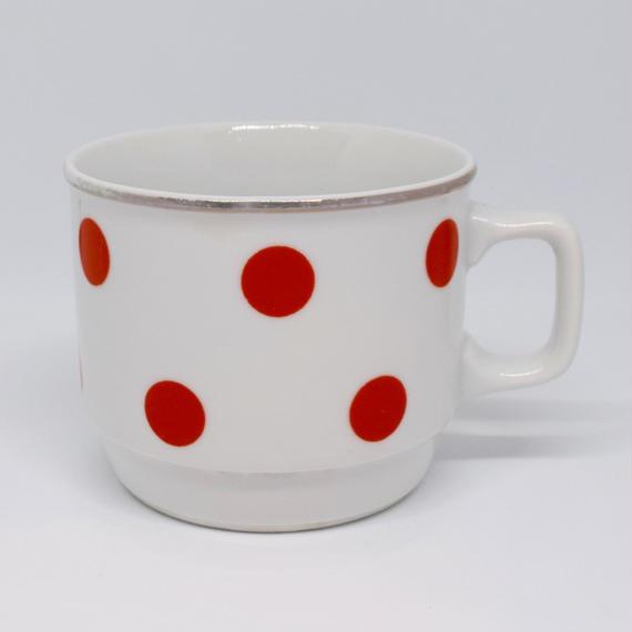 ハンガリー ジョルナイ マグカップ オレンジ水玉
