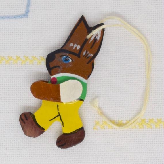 ドイツ ウサギのオーナメント 黄ズボン
