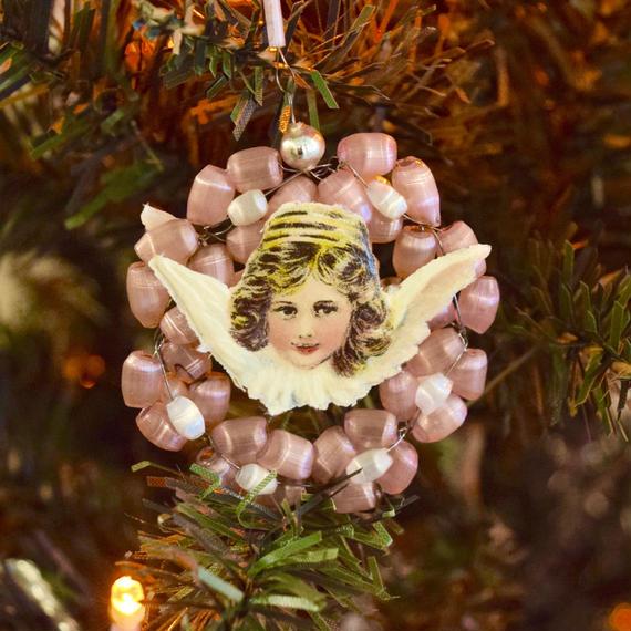 チェコ サテンガラスのオーナメント 天使 ピンク