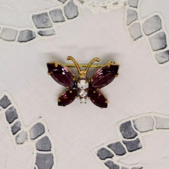 チェコ ガラスストーンブローチ 紫の蝶