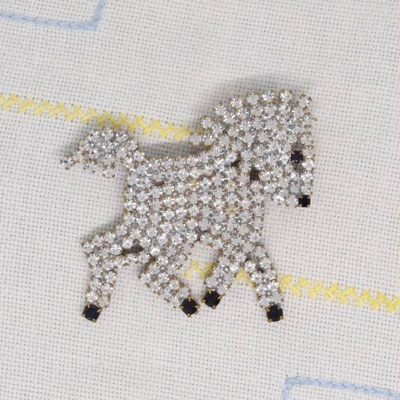 チェコ ガラスラインストーンブローチ 白馬