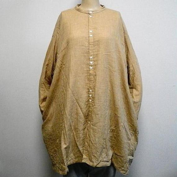 オーガニックトップ糸ダブルガーゼのマオカラービッグシャツ