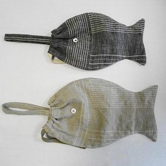 poissonnerie fish bag M(リネンストライプ)