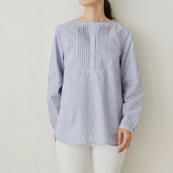 綿ストライプ・長袖タックブラウス(PH9215)通常価格¥11,880