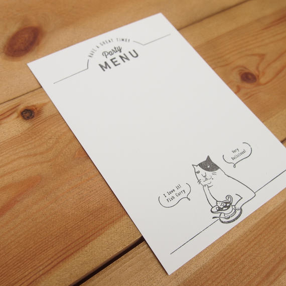 KPM008メニューカード(カレー屋ねこ)5枚