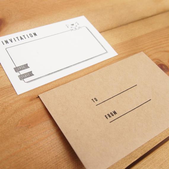 KPM001インビテーションカード(書店ねこ)5枚