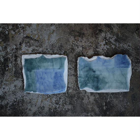 和紙染め陶板 ガラス釉 四角 浅井万貴子