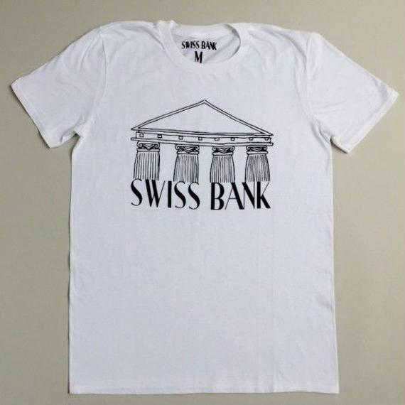 "SWISS BANK""BANK TEE""-WHITE/BLACK"
