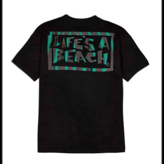 LIFE'S A BEACH Logo Jungle Tee Black