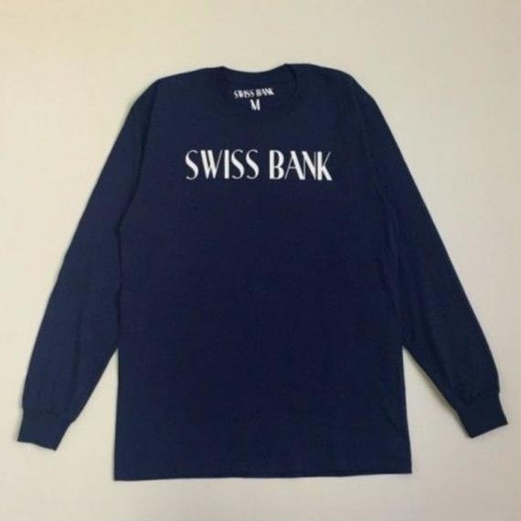 "SWISS BANK""GODDESS PILLAR LS TEE""-NAVY/WHITE"