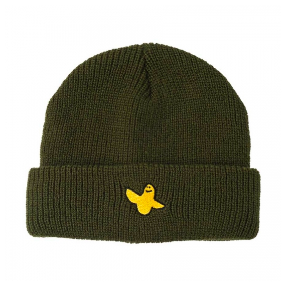 KROOKED YG BIRD CUFF BEANIE DARK ARMY GREEN