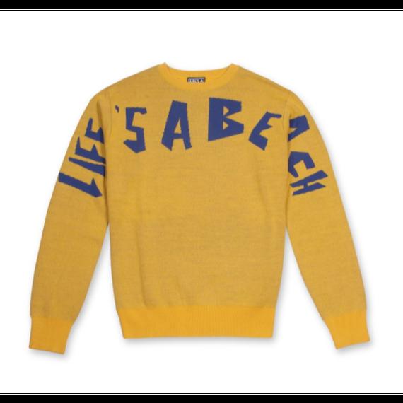 LIFE'S A BEACH LAB Strip Logo Crew Yellow